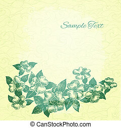 Vector vintage card with hand drawn ink style cherry blossom