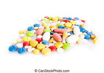 weißes, Pillen, bunte, Freigestellt