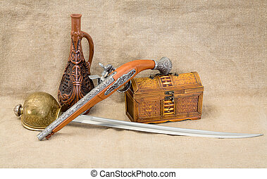 Bottle, rapier, sword, pistol and chest - Still life with...