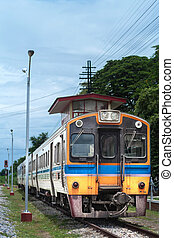 Thai colorful train arriving at station - Thai colorful...