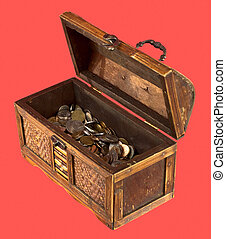 Wooden opening ancient chest with coins on red