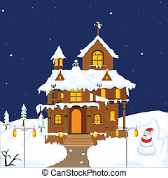 Christmas decorated House - easy to edit vector illustration...
