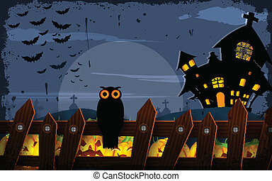 Owl sitting on fence in Halloween Night - vector...