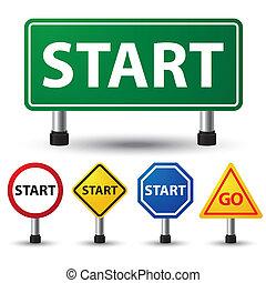 Start sign - vector illustration of start sign on white...