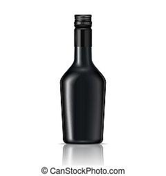 Black glass liqueur bottle with screw cap.. Vector...