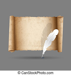 Ancient scroll paper with feather Vector EPS10