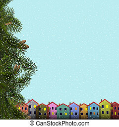 Christmas card with branches of fir and colorful homes