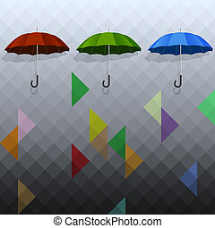 Colored umbrellas on geometric background
