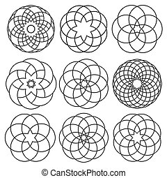 Vector set of round elements for arabic design