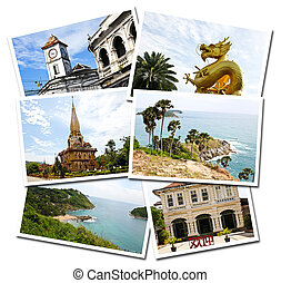 Collage of Phuket, Thailand postcards isolated on white...