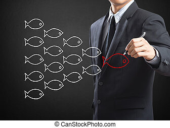 Fishes in group leadership - Businessman drawing fishes in...
