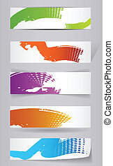 Grungy colored banners ready for your text - vector illustration