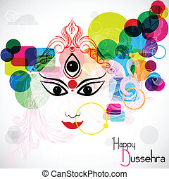 Happy Dussehra - easy to edit vector illustration Goddess...