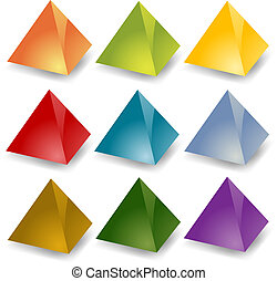 Blank pyramids - Blank editable 3d pyramid icon set in...