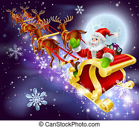 Christmas Santa flying in his sled or sleigh - Christmas...