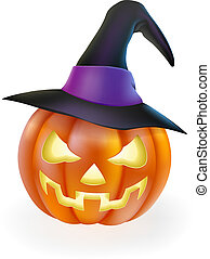 Halloween Pumpkin in Witch Hat - A drawing of a cartoon...