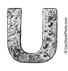 Metal letter - Metal alloy alphabet letter U
