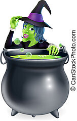 Halloween Witch and Cauldron - A cartoon witch saying hello...