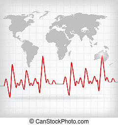 Red Heart Beats Cardiogram on White background - vector...