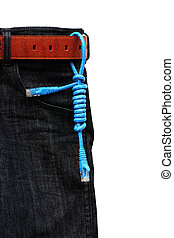 USB cable on jeans background