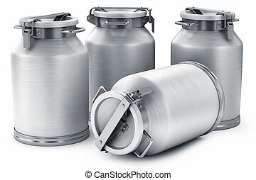 Milk cans. Isolated on white background