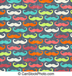 retro seamless pattern with mustache, vector illustration