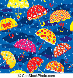 seamless pattern with colorful umbrellas, clouds and rain...