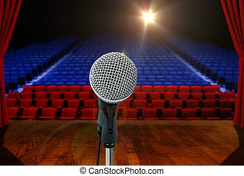 Microphone on stage Empty Hall - Microphone on stage Facing...
