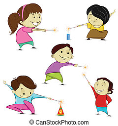 Kids playing with firecracker - easy to edit vector...
