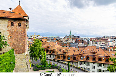 Lausanne, Switzerland - City view of Lausanne. Canton Vaud,...