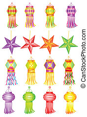 Colorful Kandil for Diwali decoration - easy to edit vector...