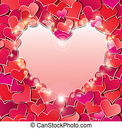 Valentine's day or Wedding background with Red hearts confetti. Holidays frame