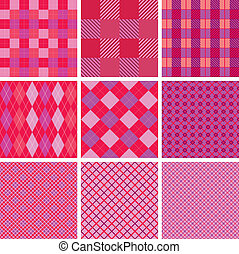 Set of plaid seamless patterns in pink colors for girls
