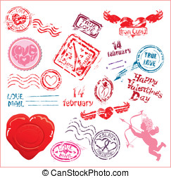 Collection of love mail design elements - postmarks- Valentine`s Day or Wedding postage set.