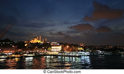 blue hours time lapse Istanbul City - time lapse Golden Horn...