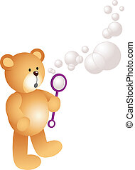 Teddy Bear Blowing Bubbles - Scalable vectorial image...