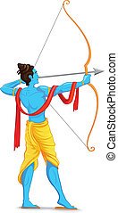 Lord Rama with Bow and Arrow - easy to edit vector...