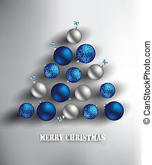 Christmas background - Blue and silver baubles forming...