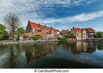 Bruges Brugge, Belgium - Canal and medieval houses Bruges...