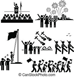 National Day Independence Patriotic - A set of pictograms...