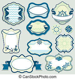 Set of design elements - marine themes frames, badges and...