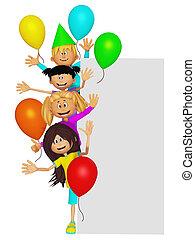 crianças, borda,  3D, Grupo, Partido