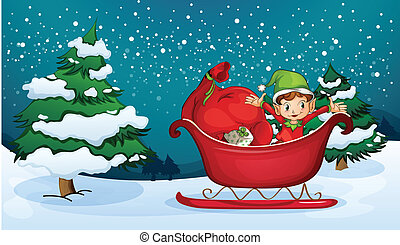 An elf riding on a sleigh with a sack of gifts