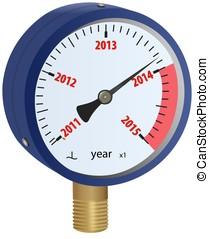 2014 year approaching manometer - Analog manometer showing...