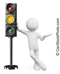 3D white people. Amber traffic light