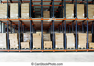 Storehouse boxes - Big shelf with lot of pallets in...