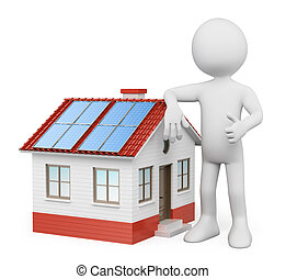 3D white people House with solar panels - 3d white people...