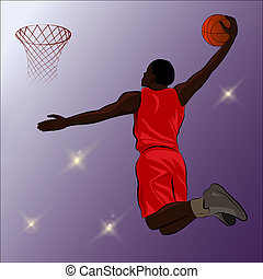 Basketball Slam Dunk - Illustration - A high jumping player...
