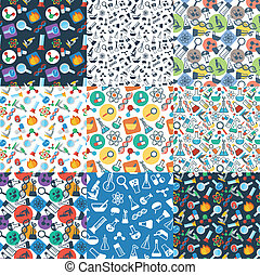 pattern with symbols of science - set of seamless pattern...
