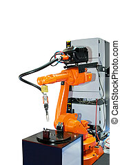 Orange robotic arm - Orange robot arm for industry isolated...